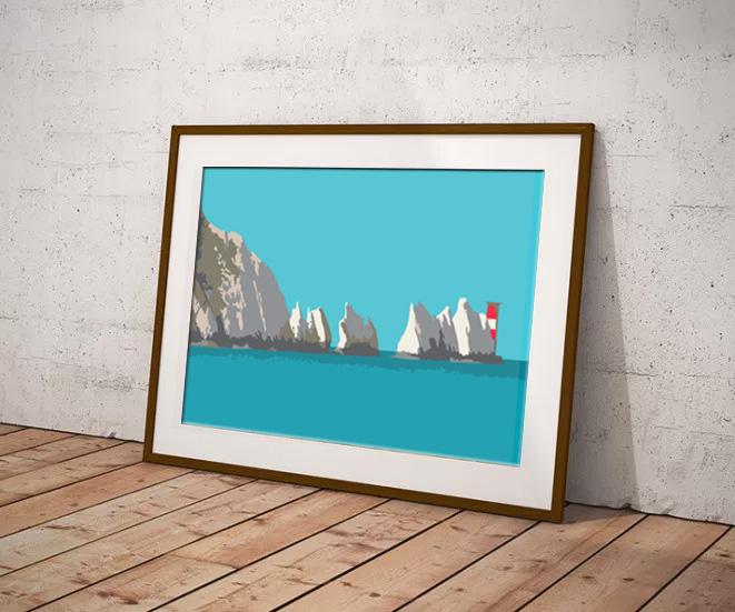 The Needles Limited edition digital art print by Dorset Artist Maxine Walter