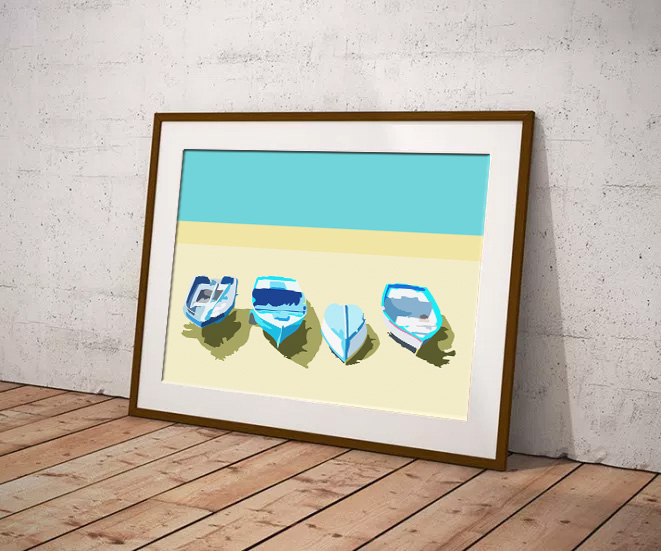 Boats on the shore Limited edition digital art print by Dorset Artist Maxine Walter