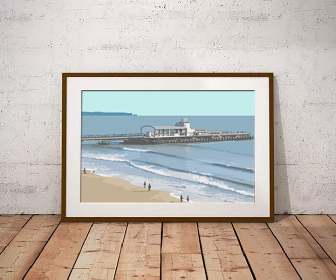 Bournemouth Pier Limited edition digital art print by Dorset Artist Maxine Walter