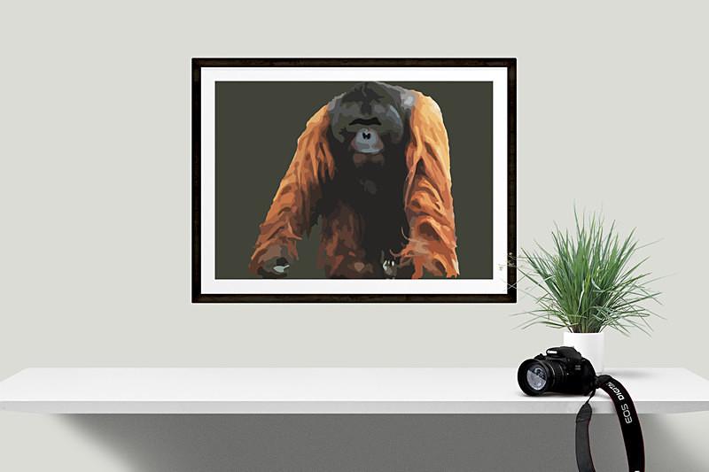 Orangutan Limited edition digital art print by Dorset Artist Maxine Walter