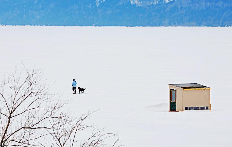 Walking the Dog Kennebecasis Ice Fishing New Brunswick Canada - Sport & Recreation