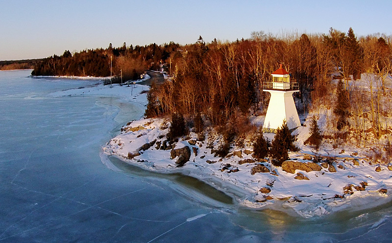 McColgan Point Lighthouse Kingston Peninsula  Aerial View - Lighthouses of New Brunswick