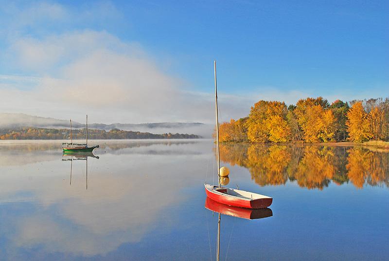 Sailboats in Autumn Foliage New Brunswick Canada - New Brunswick Landscape