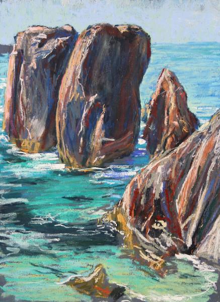 Mangersta Sea Stacs | Mangersta Beach | Pastel Drawing | Mangurstadh Gallery