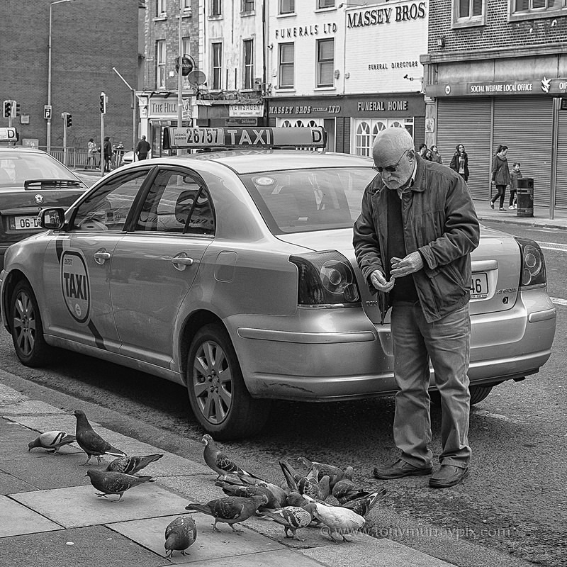 Taxi man feeding the pigeon's - STREET ~ B&W