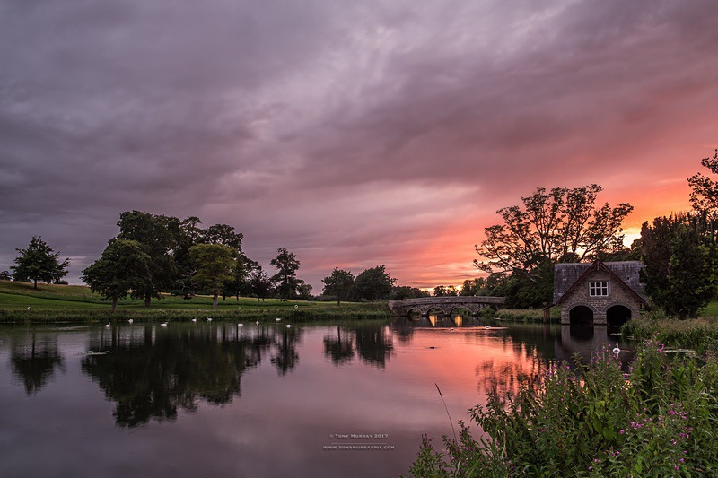 August evening sunset by the Boat house - Carton House