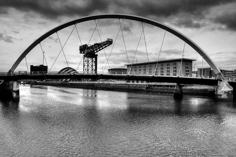 Finnieston crane  squinty bridge 02 BW - Glasgow & strathclyde