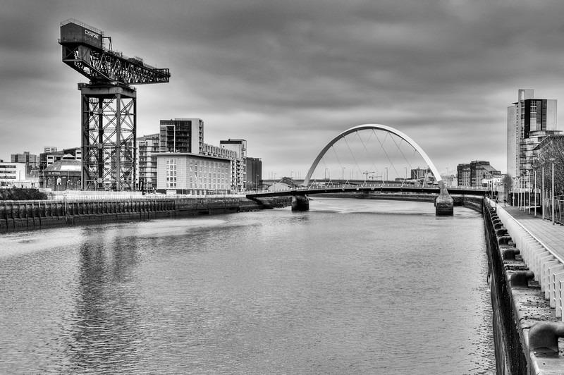 Finnieston crane  squinty bridge 03 BW - Glasgow & strathclyde