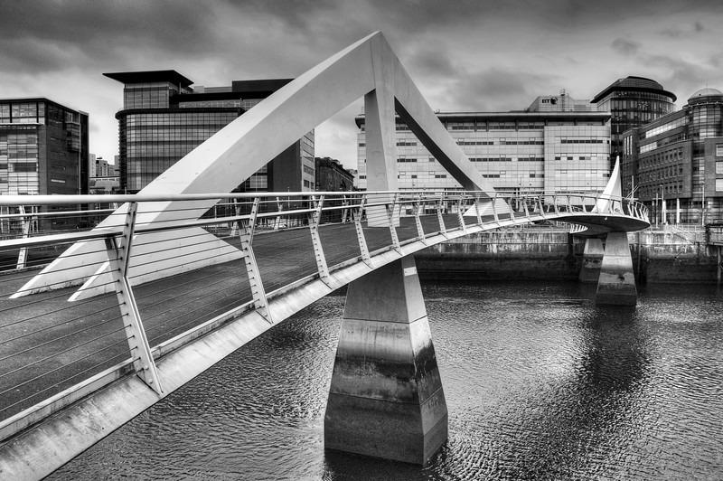 Tradeston Bridge Glasgow BW - Glasgow & strathclyde