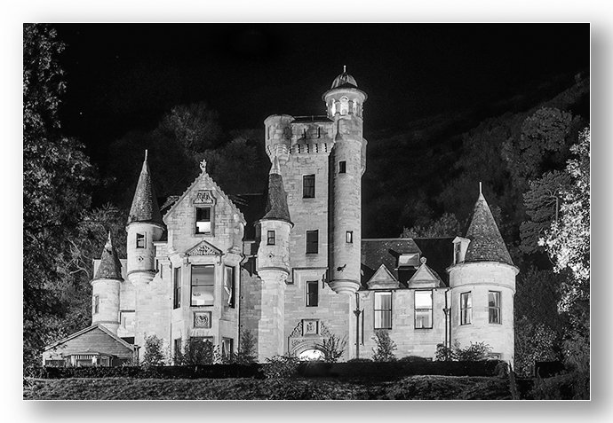 Broomhall Castle at night monochrome - Clackmannan & Stirlingshire