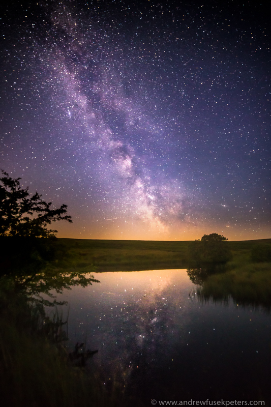 Milky Way reflected in Wildmoor Pool - Stars, Star Trails and Milky Way
