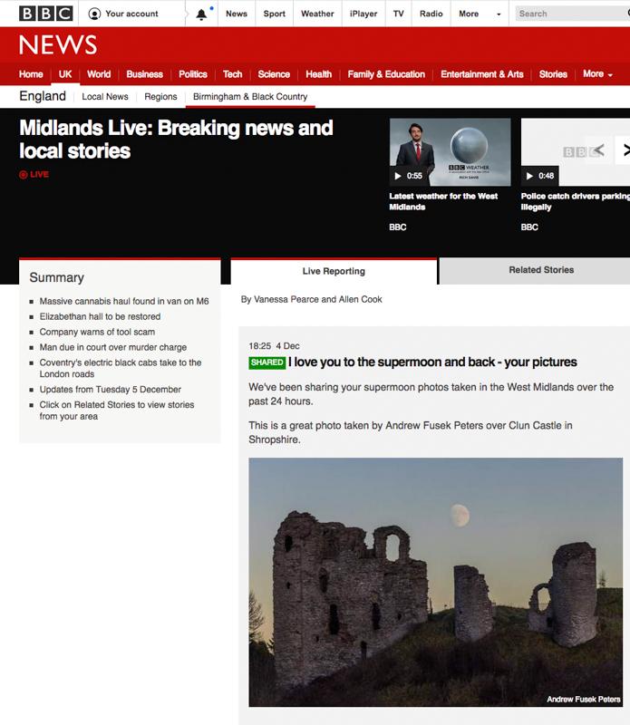 Moon over Clun Castle, BBC West Midlands - Media & Awards