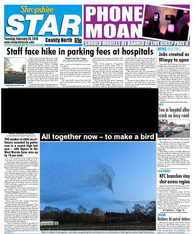 Shropshire Star cover, starling murmuration - Media & Awards