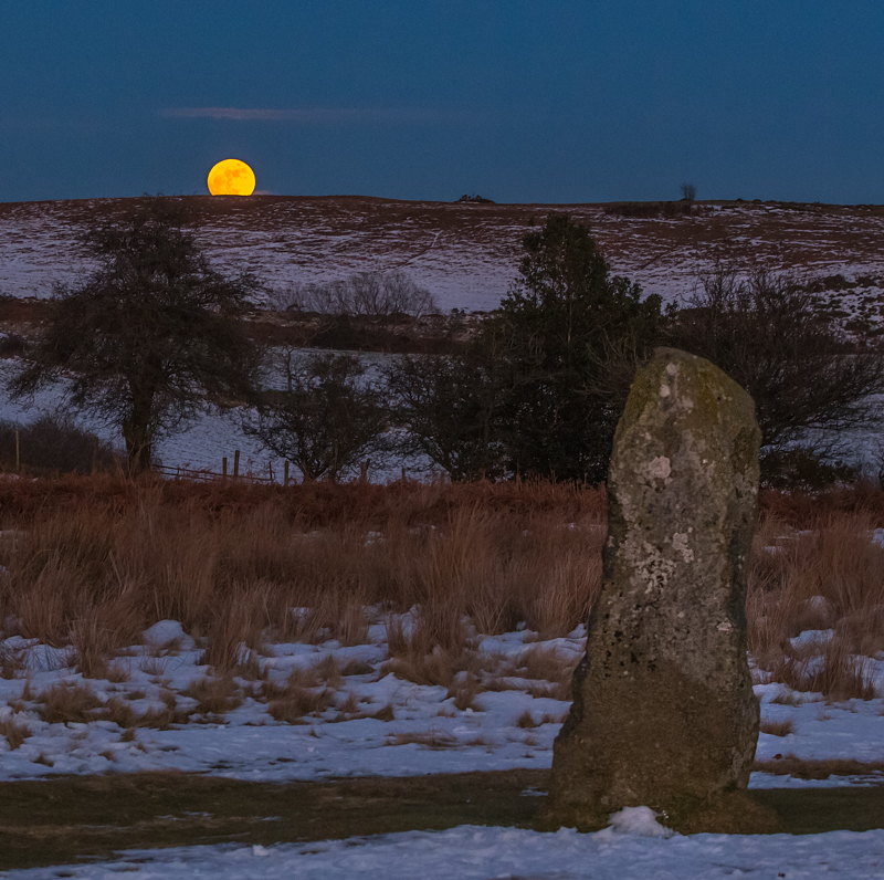 moon rise over Mitchell's Fold Stone Circle - Moon