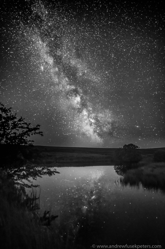 Milky Way reflected in Wildmoor Pool mono - Stars, Star Trails and Milky Way