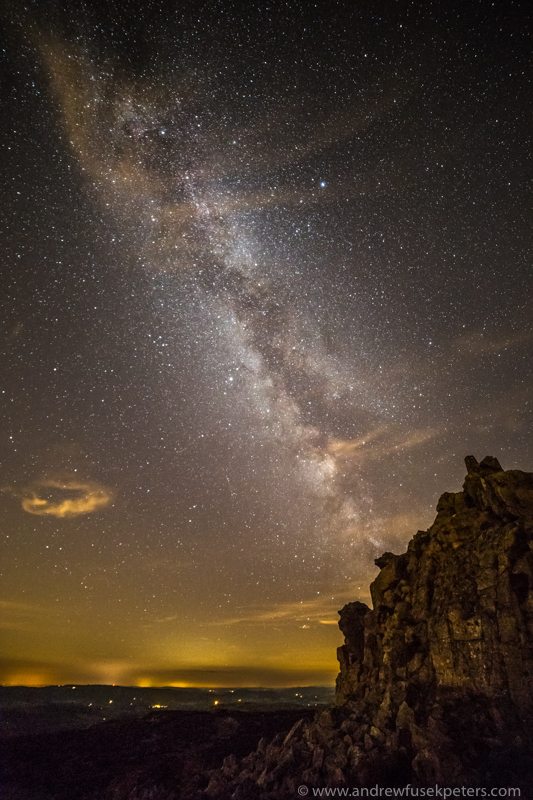 Manstone rock under the Milky Way - Stars, Star Trails and Milky Way