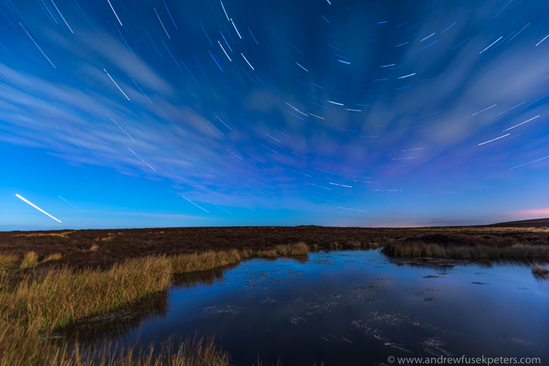 Star trails under the full moon, Long Mynd - Stars, Star Trails and Milky Way