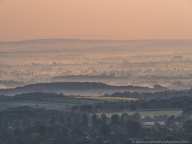 dawn on the Long Mynd and layers to the east - Olympus Landscape