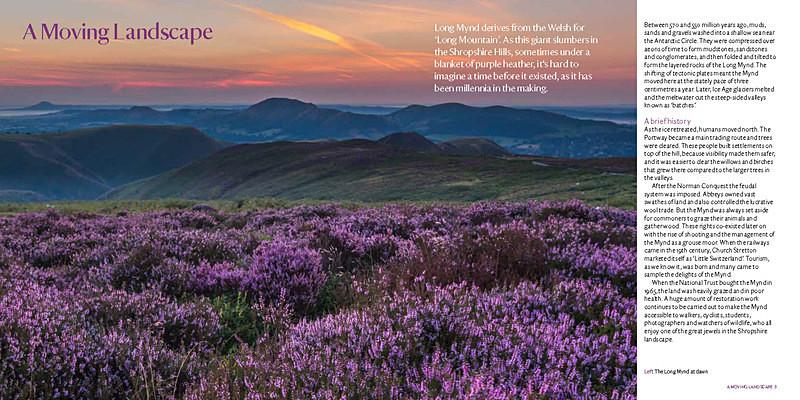 Sample spread Long Mynd Guidebook page 3 - National Trust Long Mynd Guidebook
