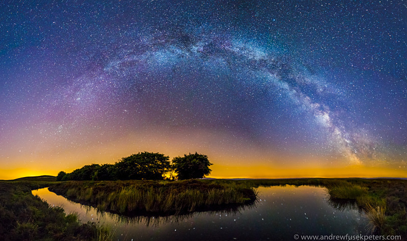 Milky Way Panorama at Bog Pool, Long Mynd - Sigma