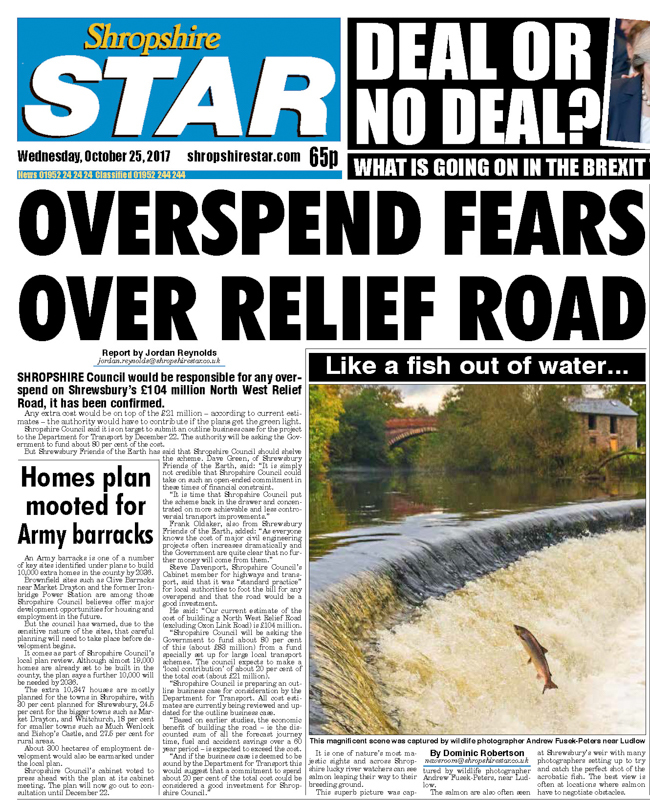 Shropshire Star Cover Shot leaping salmon near Ludlow-1 - Media & Awards