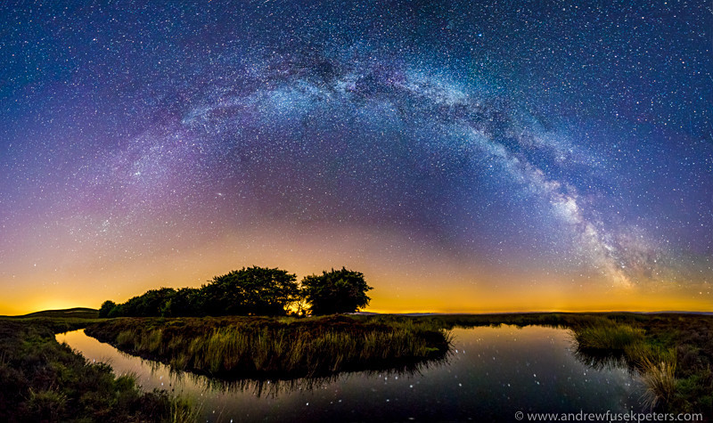 Milky Way panorama, Bog Pool, Long Mynd - Upland, Shropshire's Long Mynd & Stiperstones
