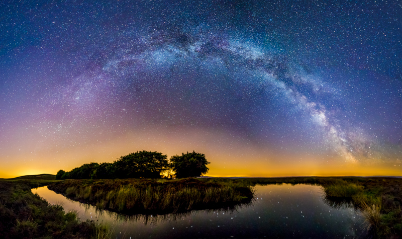Long Mynd Bog Pool Milky Way panorama - Showcase