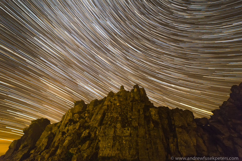 Manstone Rock, Stiperstones star trail - Stars, Star Trails and Milky Way