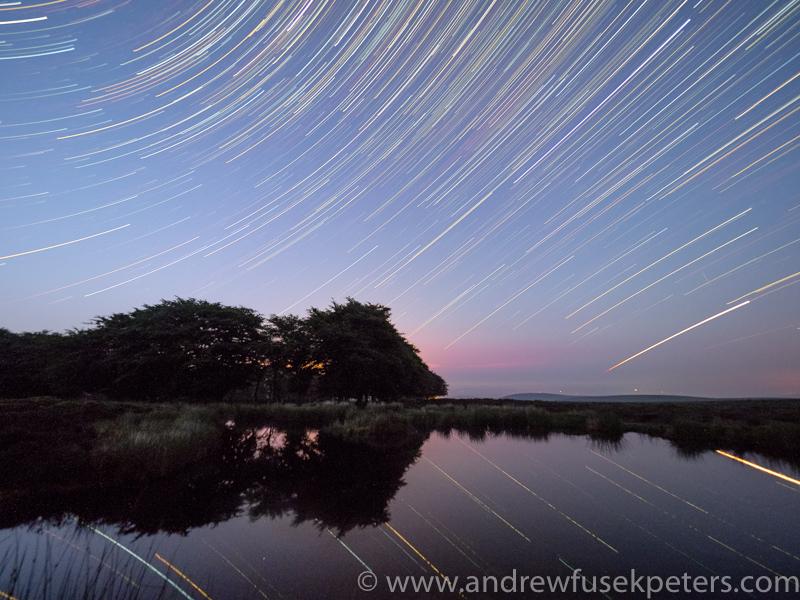 star trails on the Long Mynd bog pool - Olympus Landscape