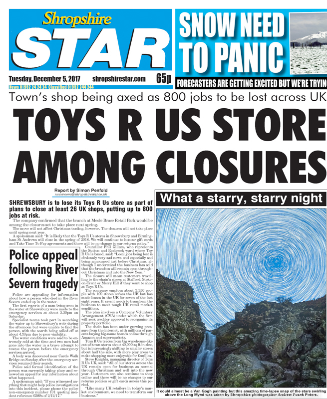 Journey of the Stars on front cover Shropshire Star-1 - Stars, Star Trails and Milky Way