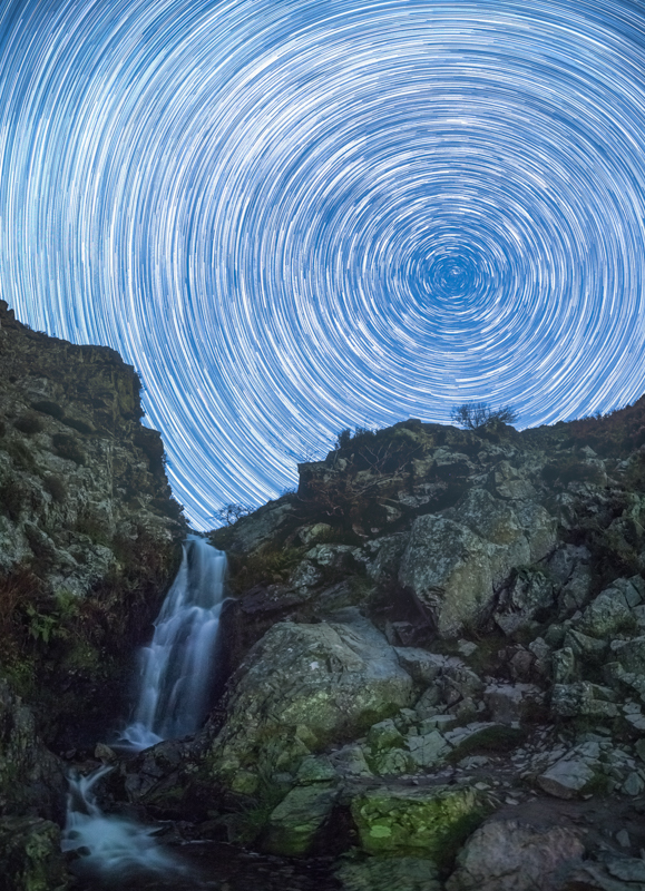 Star trails at Lightspout Waterfall, Long Mynd - Showcase
