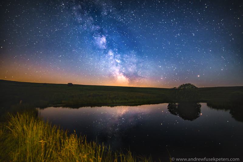Milky Way in Wildmoor Pool landscape - Stars, Star Trails and Milky Way
