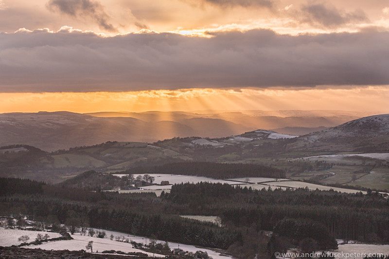 Winter sunset on The Stiperstones looking west - Upland, Shropshire's Long Mynd & Stiperstones