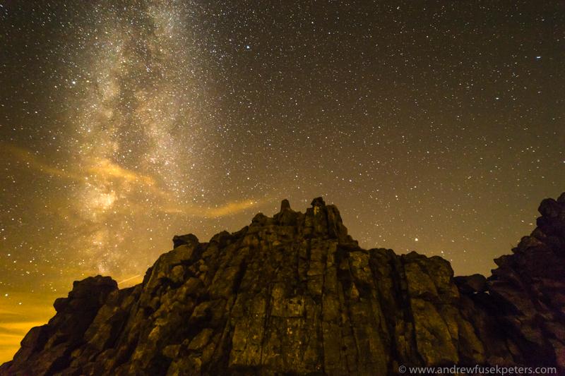 Milky Way Manstone Rock - Stars, Star Trails and Milky Way