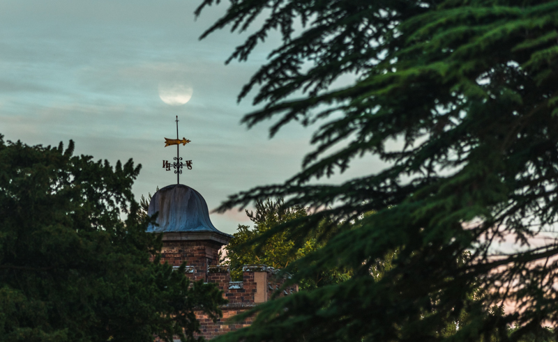 full moon rising over Dudmaston Hall - Moon