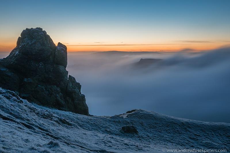Before dawn on Caer Caradoc mist over Battlestone Rock - Upland, Shropshire's Long Mynd & Stiperstones