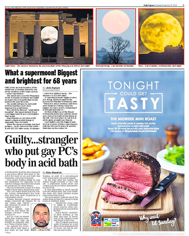 Supermoon in the Daily Express - Media & Awards