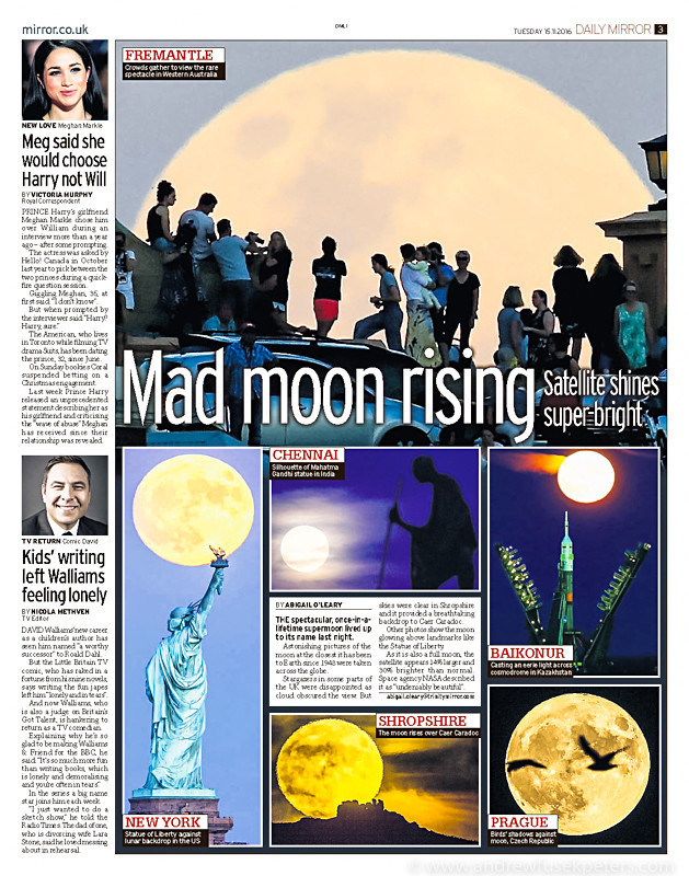 Supermoon in The Daily Mirror - Media & Awards
