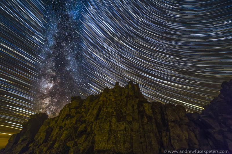 Freeframe Milky Way and star trails Manstone Rock, Stiperstones-1 - Stars, Star Trails and Milky Way