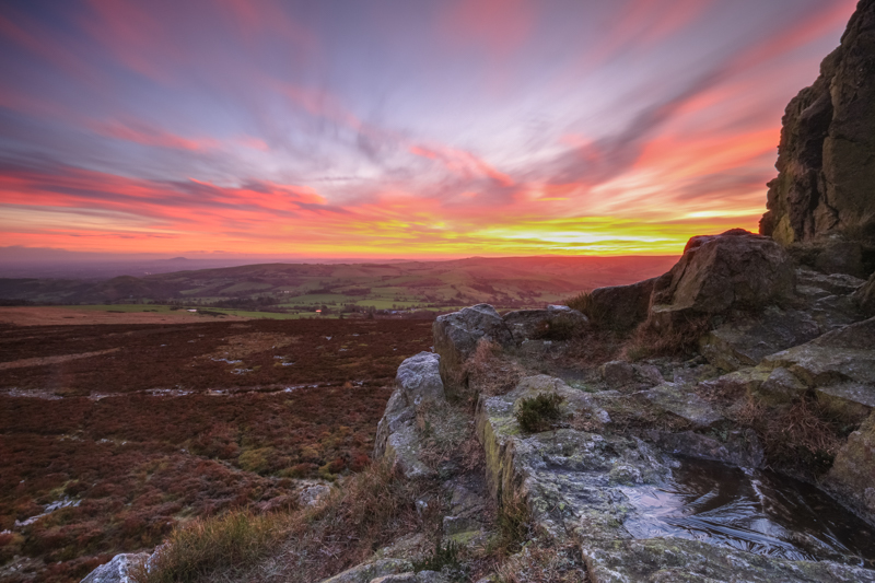 Devil's Chair winter dawn, Stiperstones - Upland, Shropshire's Long Mynd & Stiperstones