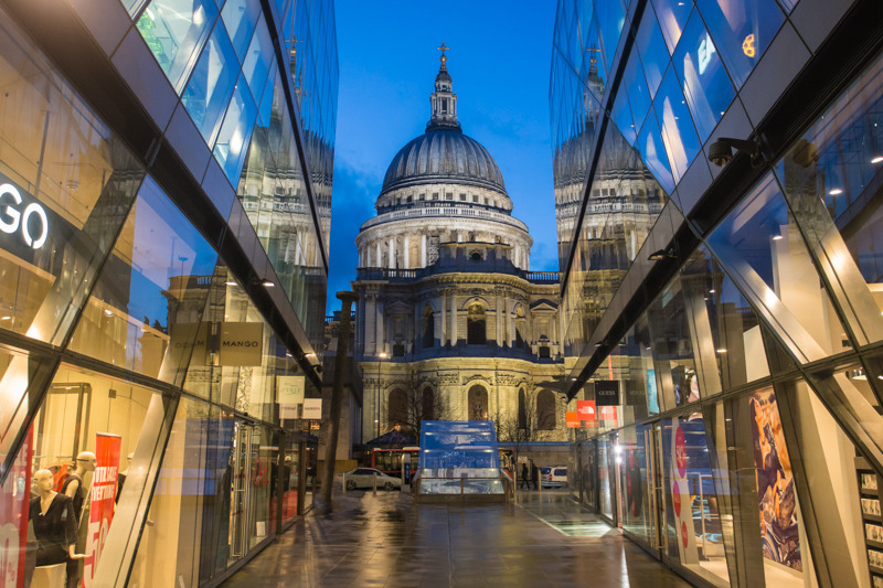 St Paul's from shopping mall - City
