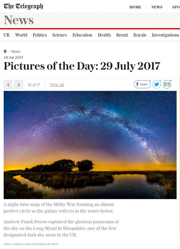 Milky Way Panorama Daily Telegraph - Media & Awards