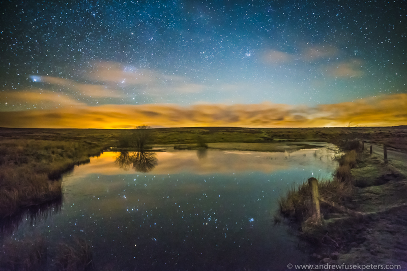 Winter at Wildmoor Pool with star reflections - Stars, Star Trails and Milky Way