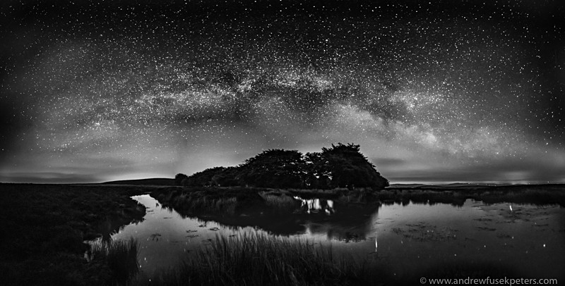 Milky Way panorama Bog Pool Long Mynd-2 - Upland, Shropshire's Long Mynd & Stiperstones