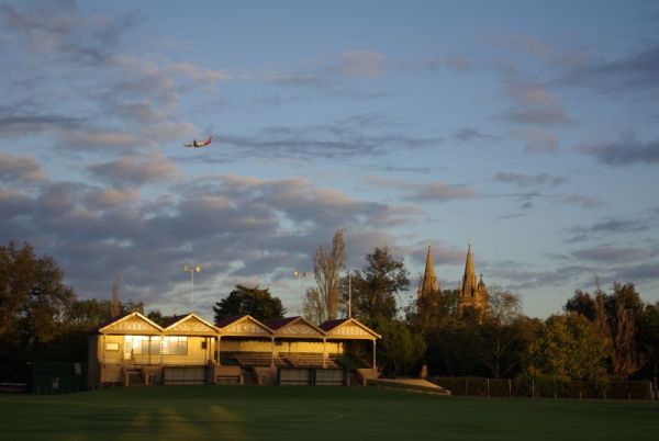Grandstand, plane and cathedral - Adelaide, South Australia