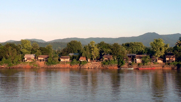 Village at dawn, Irrawaddy River - Burma