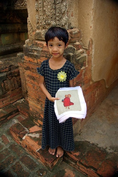 Girl seling prints, Bagan - Burma