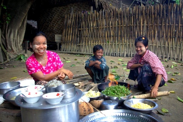 Village woman cooking - Burma