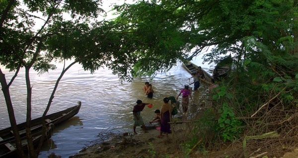 Villagers bathing, Irrawaddy River - Burma