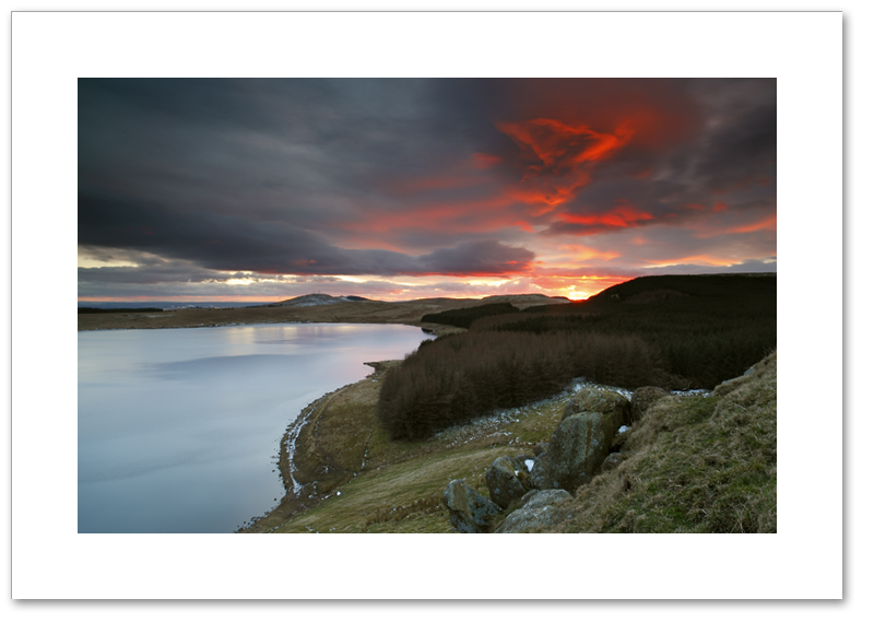 Dramatic sunset, Loch Glow, Cleish Hills, Perthshire